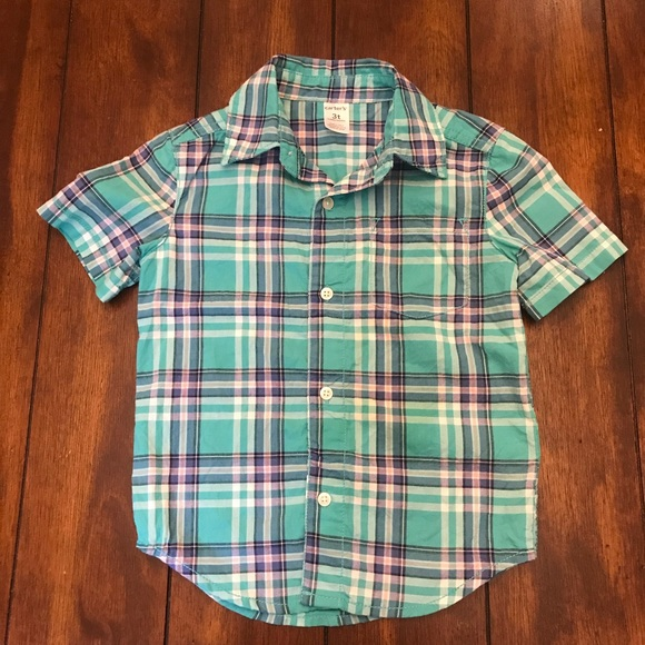 Carter's Other - Boys 3T Short Sleeve Plaid Button-up Shirt